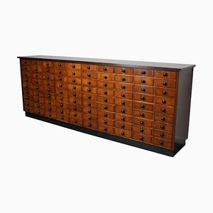 Large Oak German Industrial Apothecary Cabinet, Mid-20th Century