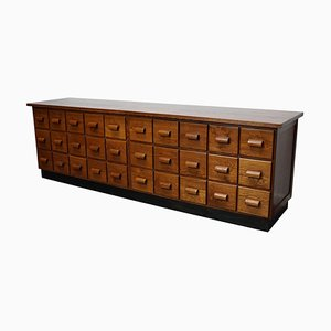 Oak German Industrial Apothecary Cabinet / Lowboard, Mid-20th Century