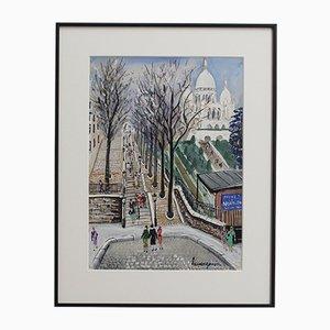Sacred Heart Montmartre at Willette Square Paris, Lucien Génin, 1930s, Gouache on Paper
