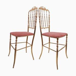 Italian Massive Brass Chairs from Chiavari, Set of 2
