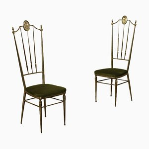 Brass and Foam Fabric Chairs, Italy, 1950s, Set of 2