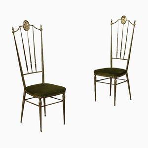 Messing und Schaumstoff Stühle, Italien, 1950er, 2er Set