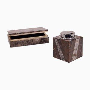 Scatola in marmo e accendino da tavolo, set di 2