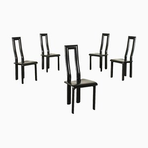 Chairs in Ycami Metal Leather, 1980s, Set of 5