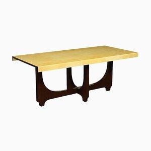 Tavolo impiallacciato in legno e pergamena di Aldo Tura, Italia, anni '60
