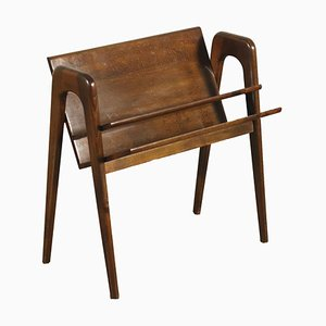Walnut Stained Magazine Rack with Ash Veneer, Italy, 1950s