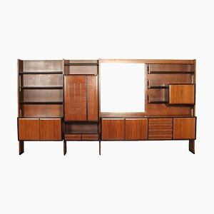 Cabinet in Veneered Wood and Mirrored Glass, Italy, 1960s