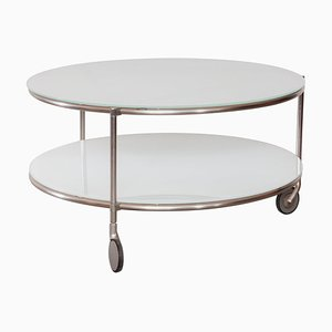 Zanotta Round Coffee Table with Castor-Mounted Wheels