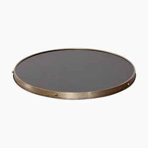 Art Deco Centerpiece in Chrome and Glass with Lazy Susan Rotating Tray