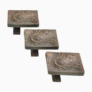 Brutalist Bronze Rectangle Push and Pull Door Handles for Double Doors, Set of 3