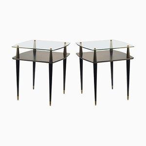 Black Square Side Tables, 1950s, Set of 2