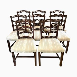 Antique 19th Century Mahogany Ladder Back Chairs, Set of 8