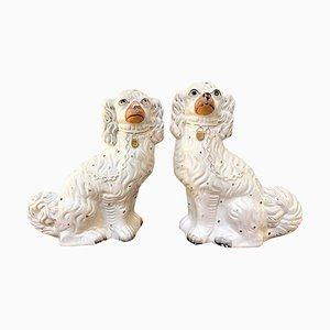 Antique Victorian White and Gold Staffordshire Dogs, Set of 2