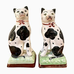 Antike viktorianische Staffordshire Katzen, 2er Set