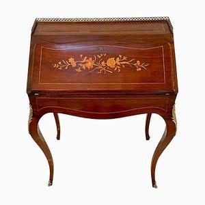 Antiker viktorianischer freistehender Schreibtisch aus Palisander mit Intarsien