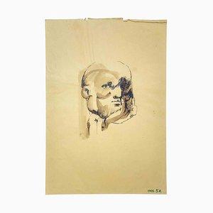 Leo Guida, Portrait, Dessin Original à l'Encre et à l'Aquarelle, 1970s