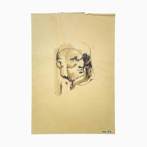 Leo Guida, Portrait, Original Ink and Watercolor Drawing, 1970s