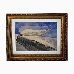 Paolo Garretto, Study for the Express Train, Watercolor, 1937