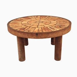 Mesa de centro francesa de cerámica y madera de Roger Capron, años 70