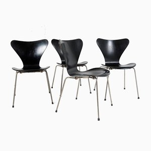 Model 3107 Syveren Black Dining Chairs by Arne Jacobsen for Fritz Hansen, 1960s, Set of 4