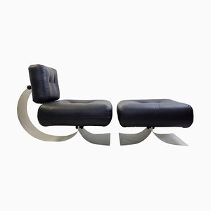 Model Alta Lounge Chair and Ottoman by Oscar Niemeyer, 1970s, Set of 2