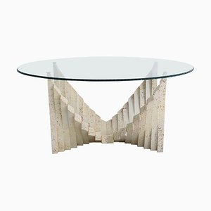 Italian Travertine Marble Coffee Table with Cut Glass Top, 1970s
