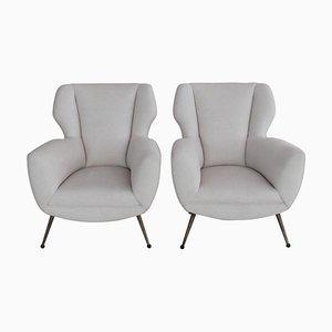 Italienische Sessel mit weißem Samtbezug im Gigi Radice Stil, 1950er, 2er Set