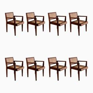 Take Down Teak Armchairs by Pierre Jeanneret, 1950s, Set of 8