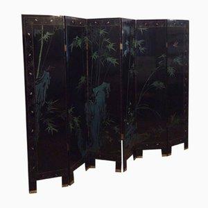 Chinesischer lackierter Coromandel Raumteiler mit 6 Elementen