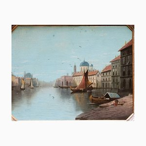 19th Century Venice Landscape with Golden Wood Frame