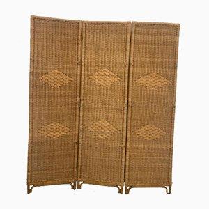 Biombo de mimbre y bambú, años 50