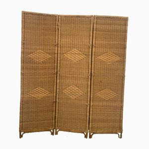 Wicker and Bamboo Screen, Italy, 1950s