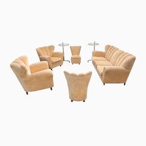 Velvet Living Room Set by Guglielmo Ulrich, 1950s, Set of 5