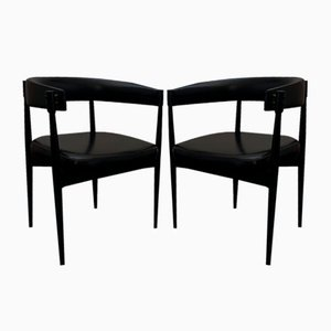 Imitation Leather Armchairs with Brass Fittings, Set of 2