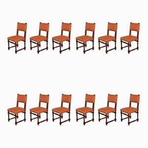 Louis XIII Style Walnut Chairs, Set of 12