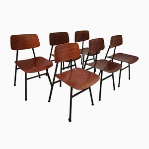 Vintage Chairs with Black Steel Frames from Stol Kamnik, Set of 6