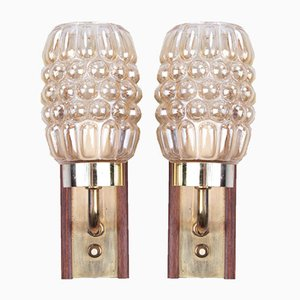Danish Teak Wall Lamps in Brass and Glass, Set of 2