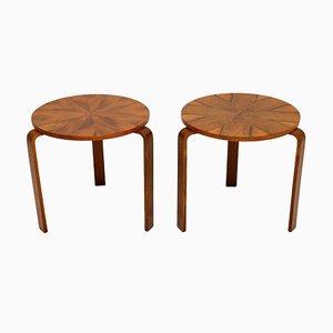 Vintage Walnut & Bentwood Stacking Stools or Side Tables , Set of 2