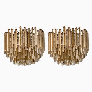 Murano Crystal Chandeliers by Paolo Venini for Venini, 1970s, Set of 2