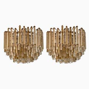 Murano Kristallglas Kronleuchter von Paolo Venini für Venini, 1970er, 2er Set