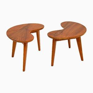 Vintage Walnut Kidney Side Tables, Set of 2