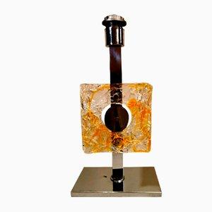 Tischlampe aus vernickeltem Metall und Murano Glas von Mazzega