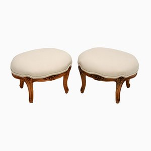 Antique French Carved Walnut Foot Stools, Set of 2