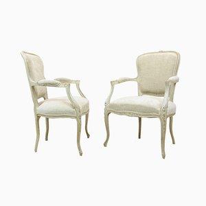 Antike Armlehnstühle im Louis XV Stil, 2er Set