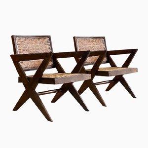 Cross Leg Easy Chairs by Pierre Jeanneret, 1960s, Set of 2
