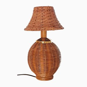 Vintage Rattan, Bamboo and Brass Table Lamp, 1960s