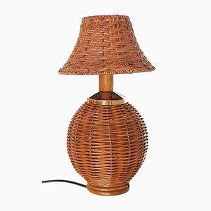 Vintage Tischlampe aus Rattan, Bambus & Messing, 1960er