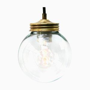 Vintage Industrial Brass & Clear Glass Pendant Light