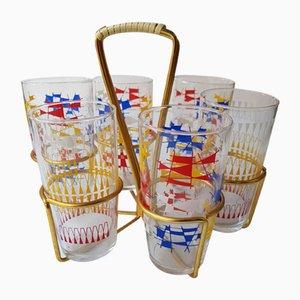 Drinking Glass Set in Brass Holder, 1950s, Set of 6