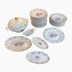 Porcelain Dishes from Sarreguemines, Set of 42